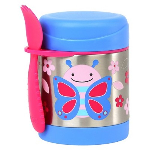 Skip Hop Zoo Little Kids & Toddler Insulated Stainless Food Jar & Utensil - Butterfly
