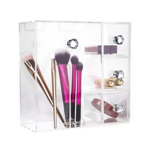 Impressions Vanity Diamond Collection Acrylic Brush Holder with Drawers