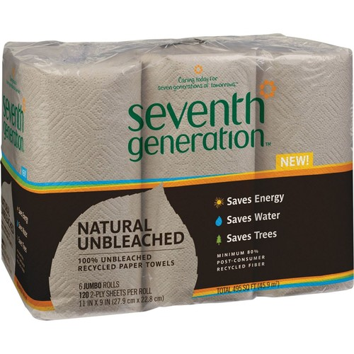 Seventh Generation Natural Unbleached 100% Recycled Paper Towel Rolls, 2-Ply, 11 x 9 Sheets, 120 Sheets/Roll, 6 Roll/Pk (13737)