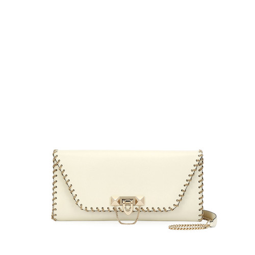 VALENTINO Demilune Vitello Leather Shoulder Bag