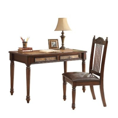 COASTER Table Desk and Side Chair Set, Cherry (800079)