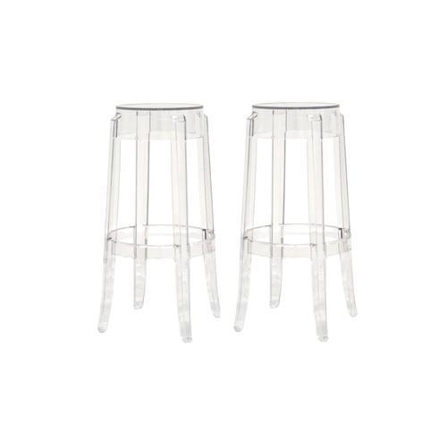 Baxton Studio Lia Modern Design Acrylic Stool Set of 2 - Clear