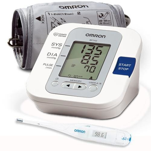 Omron BP742 5 Series Upper Arm Blood Pressure Monitor with Thermometer