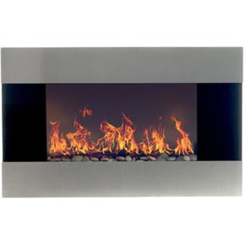 The Northwest Company NORTHWEST STAINLESS STEEL ELECTRIC FIREPLACE w/ WALL MOUNT & REMOTE