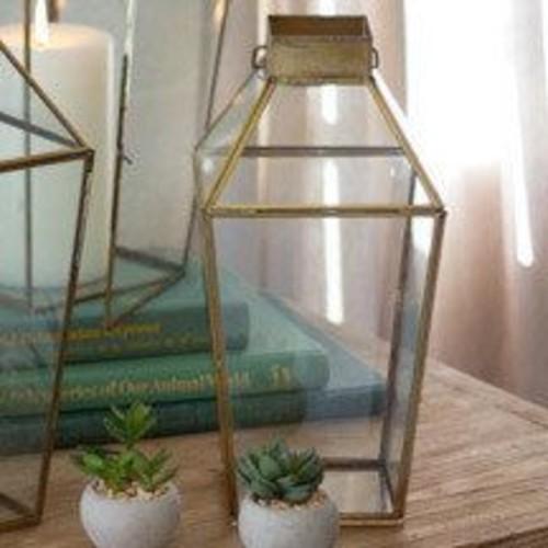 Bungalow Rose Antique Metal/Glass Lantern; Small