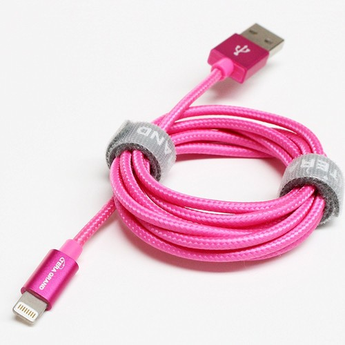 [Apple MFi Certified] Tera Grand Lightning to USB Braided Cable with Aluminum Housing, 4 Feet Pink, for iPhone 6 Plus / 6 / 5s / 5c / 5, iPad Air / Air 2/ Mini / Mini 2/ Mini 3, iPad 4th generation, iPod 5th generation, and iPod nano 7th generation