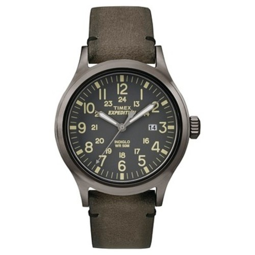 Timex Men's Expedition Scout Watch, Brown Leather Strap