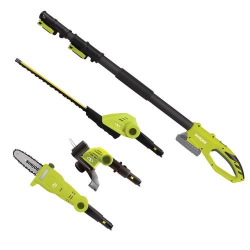 Sun Joe 24-Volt Cordless Electric Hedge Trimmer, Pole Saw, Grass Trimmer