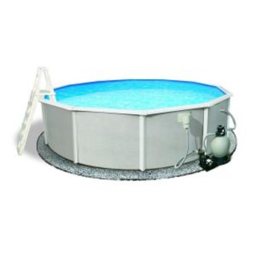 Blue Wave Belize 27 ft. Round 52 in. Deep 6 in. Top Rail Metal Wall Swimming Pool Package