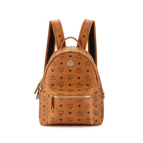 MCM Stark Visetos Side-Stud Small Backpack, Cognac