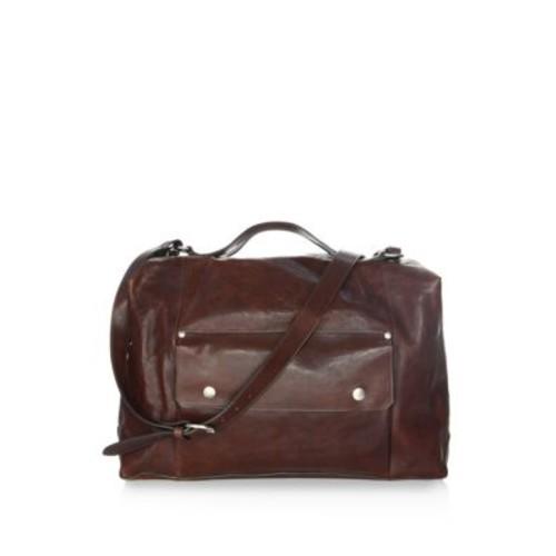 Adjustable Strap Leather Weekender Bag