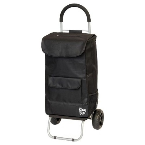 Trolley Dolly 2-in-1 Folding Cart and Dolly with Comfort Handle - Black Foldable Bag with Comfort Handle and Dolly