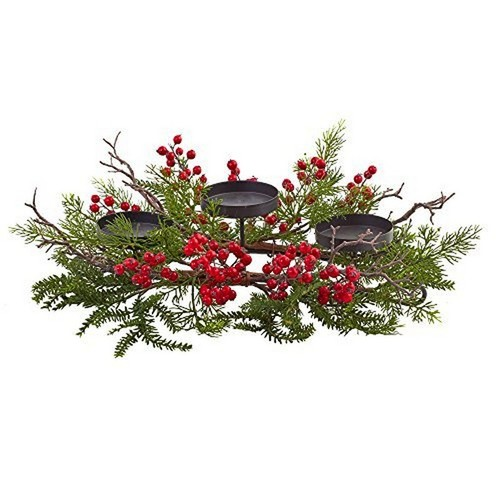 Nearly Natural Berry & Pine Triple Candelabrum 4887