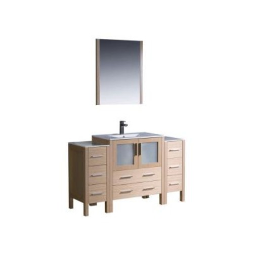 Fresca Torino 54 in. Vanity in Light Oak with Ceramic Vanity Top in White with White Basin and Mirror