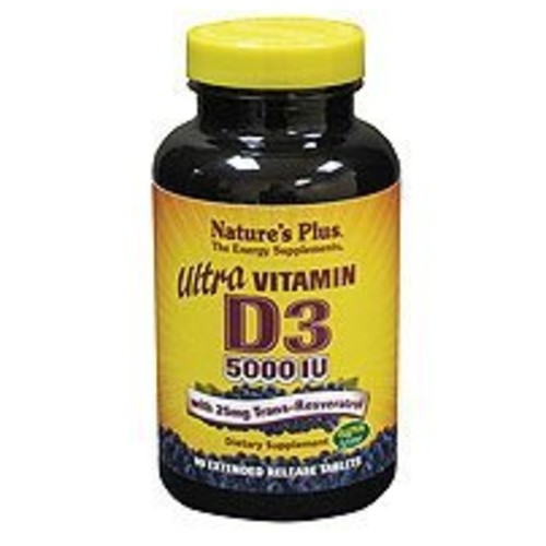 Nature's Plus - Ultra Vitamin D3 5000 IU with 25 mg Trans-Resveratrol, 90 Extended Release Tablets