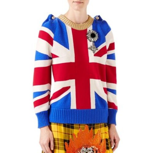 GUCCI Union Jack Intarsia Wool Knit Top