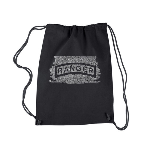 Los Angeles Pop Art The US Ranger Creed Black Cotton Drawstring Backpack