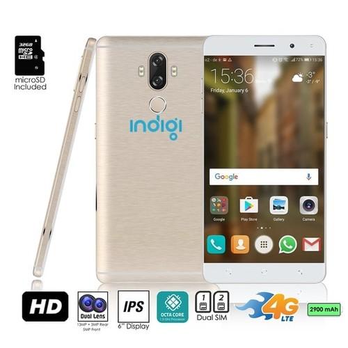 Indigi GSM Unlocked 4G LTE 6-inch Android 7 Smartphone (2SIM + Octa-Core @ 1.3ghz + Fingerprint Scanner) + 32gb microSD