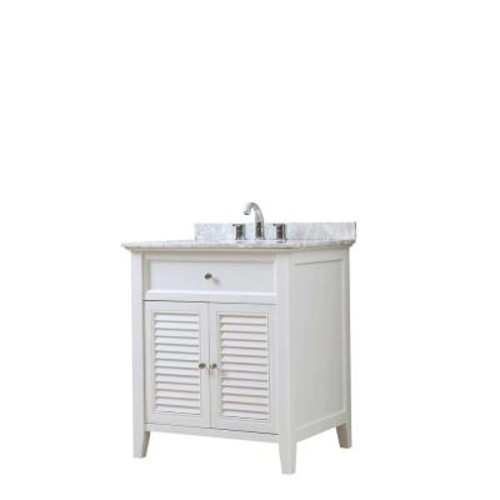 Shutter 32 inch White Vanity with Carrara White Marble Top [32S12-WWC]