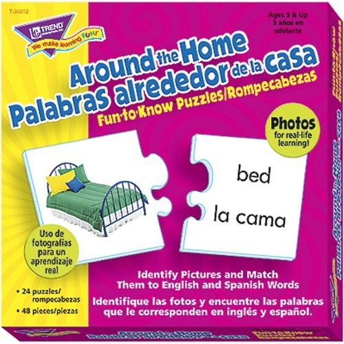 Trend Enterprises Around The Home Picture Words/Palabras Fun-To-Know Puzzles (48 Piece)