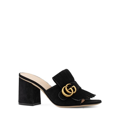 GUCCI Marmont Mid Heel Slide Sandals