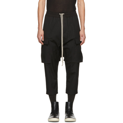 Black Drawstring Cropped Cargo Pants