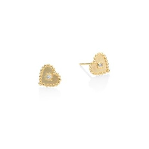 Dew Drop Diamond Heart Stud Earrings