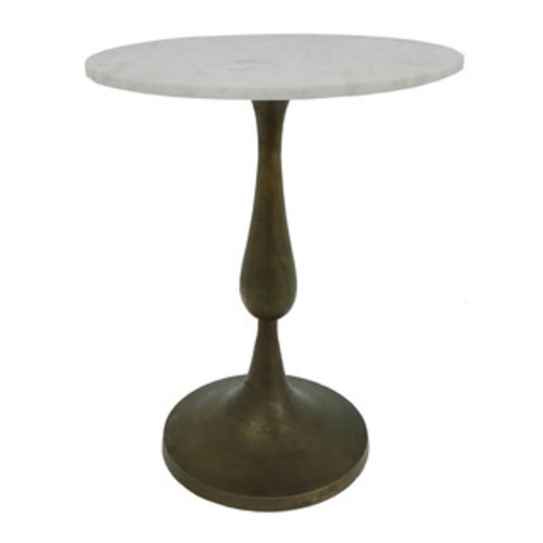 Marble Top Round Accent Table - Dark Marble