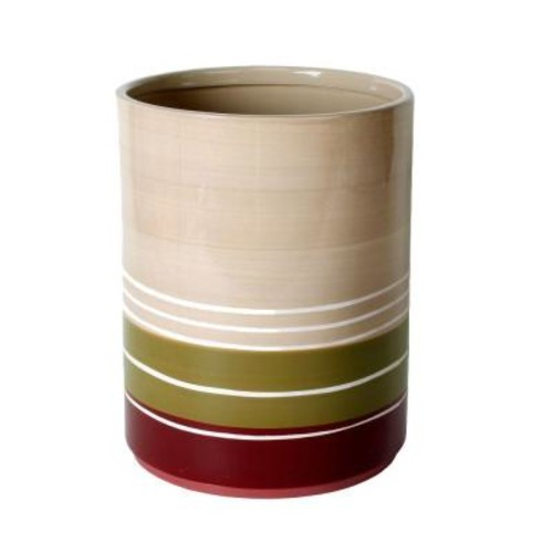 Saturday Knight Madison Stripe Ceramic Wastebasket in Red