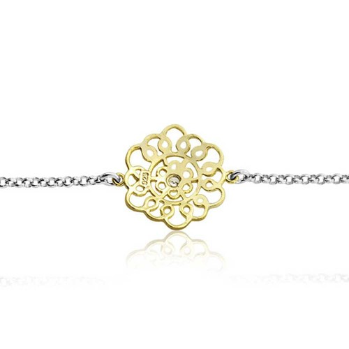 Gold Plated Lace Filigree Flower CZ Statement Necklace 30in