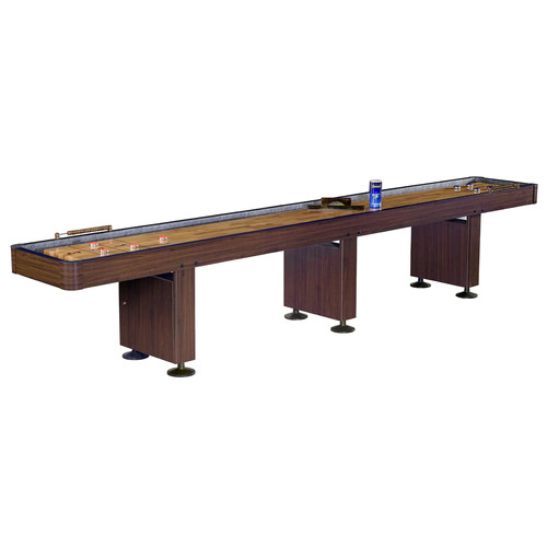 Hathaway Challenger 14-Ft Shuffleboard Table w Walnut Finish, Hardwood Playfield, Storage Cabinets