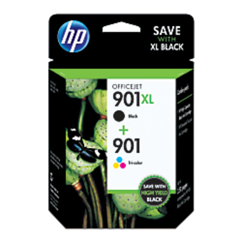 HP 901XL/901 Black/Tricolor Original Ink Cartridges (CZ722FN), Pack Of 2