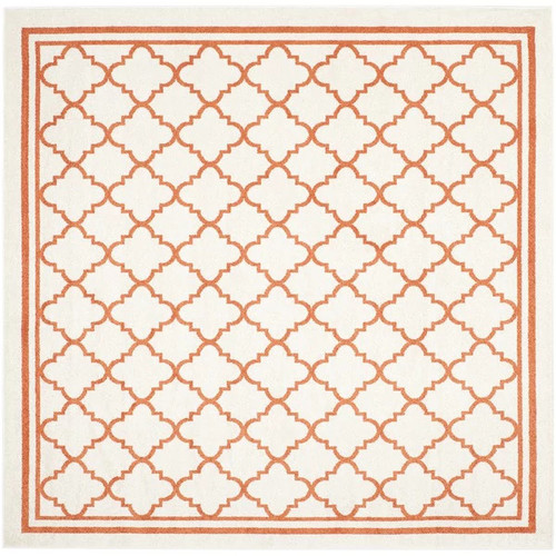 Safavieh Indoor/ Outdoor Amherst Beige/ Orange Rug (7' Square)
