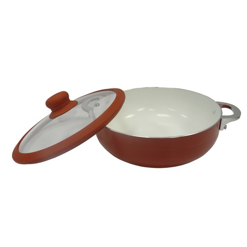 IMUSA CHI-00072R Ceramic Nonstick Caldero with Glass Lid and Silicone Rim 6.9-Quart, Red