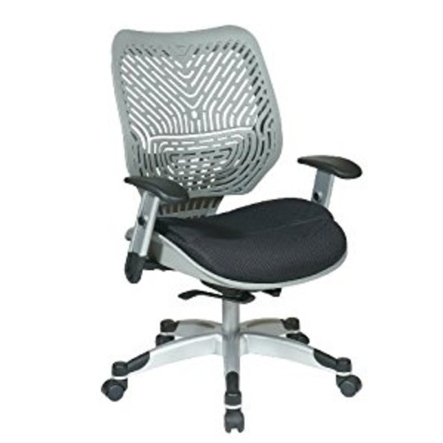 SPACE Seating REVV Self Adjusting SpaceFlex Fog Backrest Support and Padded Raven Mesh Seat with Adjustable Arms and Platinum Finish Base Managers Chair [black, Raven]