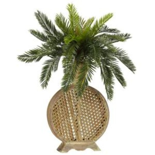 Nearly Natural 25 in. H Green Cycas with Decorative Vase Silk Plant