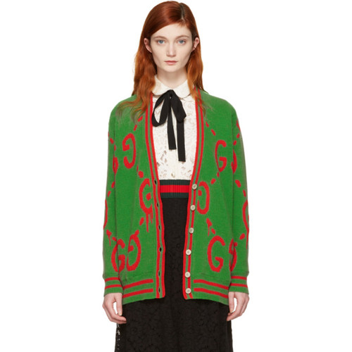 GUCCI Green Oversized Ghost Cardigan