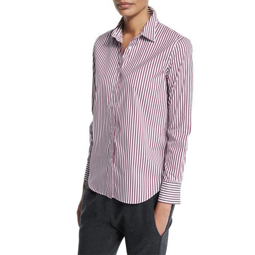 BRUNELLO CUCINELLI Monili-Embellished Striped Shirt, Burgundy
