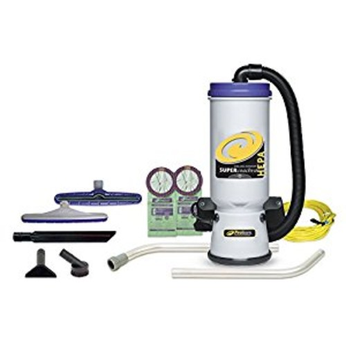 ProTeam Commercial Backpack Vacuum, Super CoachVac Vacuum Backpack with HEPA Media Filtration and Xover Multi-Surface 2-Piece Wand Tool Kit, 10 quart, Corded [7pc Commerical Tool Kit (2pc Wand)]