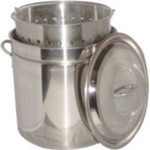 King Kooker 36 Quart Stainless Steel Boiling Pot with Steam Rim