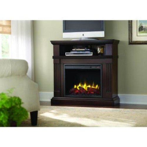 Home Decorators Collection Edison 40 in. Convertible Media Console Electric Fireplace in Tobacco