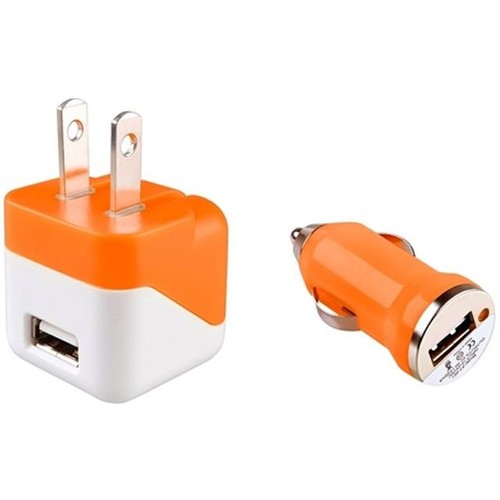 Insten 1663775 Orange USB Mini Travel Charger Adapter and Mini Car Charger Adapter for Cell phone