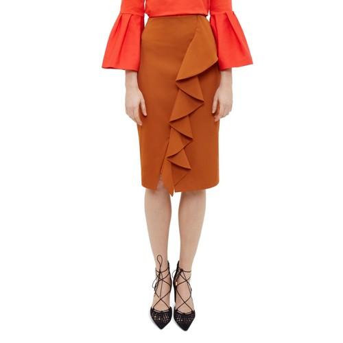 TED BAKER Selver Ruffle Detail Pencil Skirt