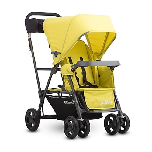 Joovy Caboose Ultralight Graphite Stand-On Tandem Stroller in Citron