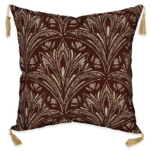 Bombay Royal Zanzibar 16-Inch Square Outdoor Throw Pillow with Tassels in Berry