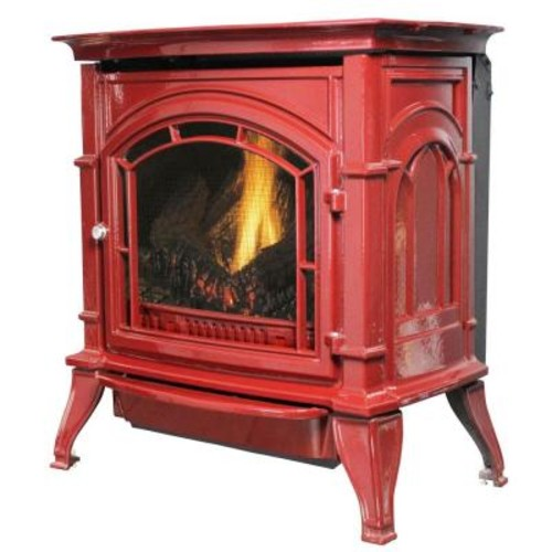 Ashley Hearth Products 31,000 BTU Vent Free Natural Gas Stove Red Enameled Porcelain Cast Iron