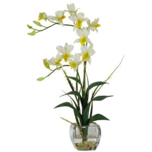 Nearly Natural 22 in. Beige Dendrobium Silk Orchid Flower Arrangement