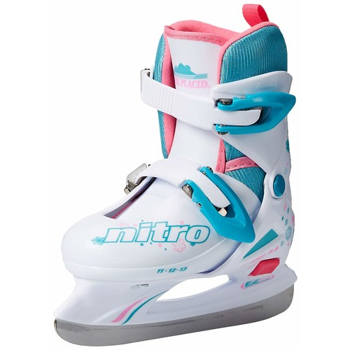 Lake Placid Girls Nitro 8.8 Adjustable Figure Ice Skate [White, Medium]