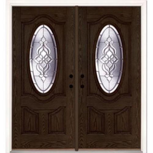 Feather River Doors 74 in. x 81.625 in. Lakewood Zinc 3/4 Oval Lite Stained Walnut Oak Left-Hand Fiberglass Double Prehung Front Door