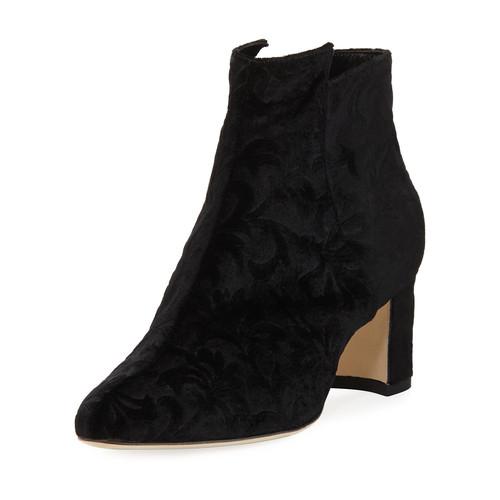 MANOLO BLAHNIK Belina Velvet Ankle Boot, Black